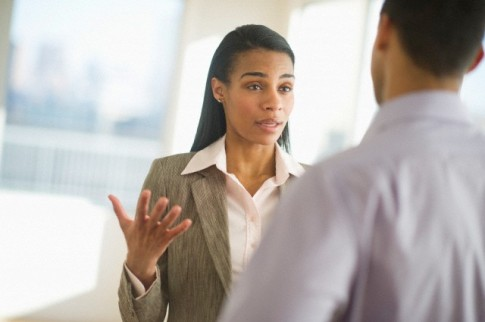 USA, New Jersey, Jersey City, Business man and woman arguing